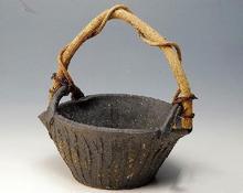 花器 手桶黒窯変
