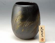 花瓶 黒窯金彩穂