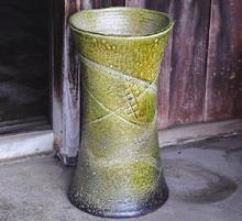 傘立 緑釉つつみ型