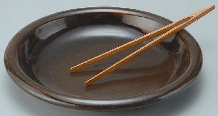 耐熱 黒飴釉グリルプレート(トング付)