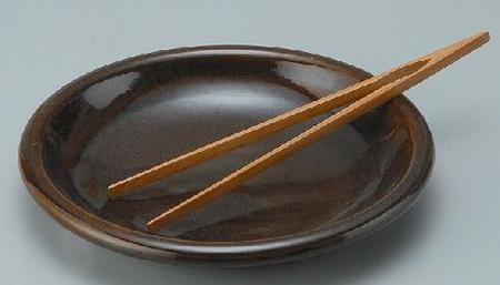 耐熱 黒飴釉グリルプレート(小)(トング付)