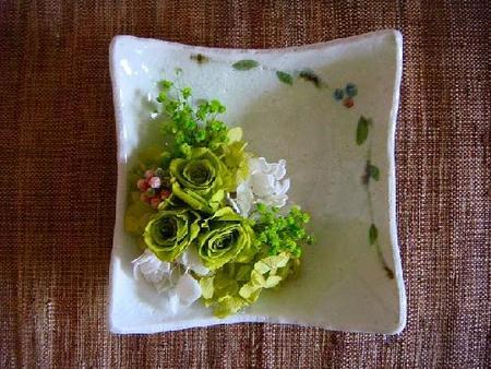 ベリー四方皿&アレンジ(グリーン)
