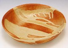 火色白釉流し 大鉢