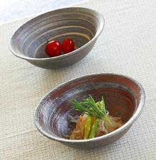 銀彩ライン平鉢