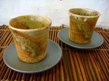 信楽焼 織部ちらしペア碗皿