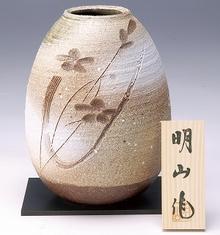 信楽焼 荒土化粧花彫