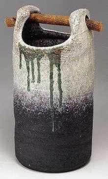 信楽焼 傘立 古白緑流し手桶