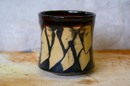 信楽焼 波ロックカップ(白)